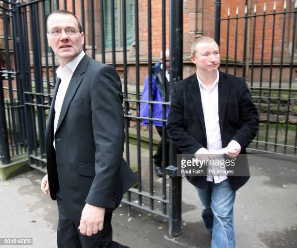 Paul Donaghey and Phil Baron friends of Kelvin Adams leave the coroners court in Belfast after an inquest into his death which occurred while he was...