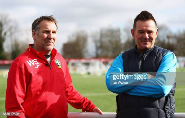 Paul Doswell manager of Sutton United and exArsenal player and pundit Paul Merson in discussion during a Sutton United FA Cup media day on February...
