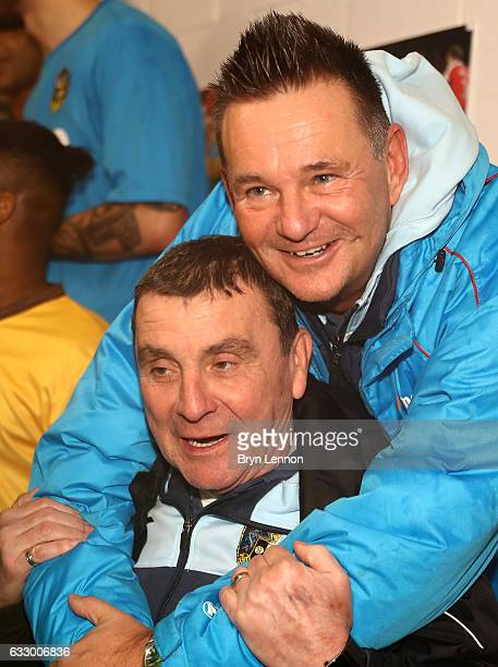 Paul Doswell Manager of Sutton United celebrates in the changing room after The Emirates FA Cup Fourth Round match between Sutton United and Leeds...