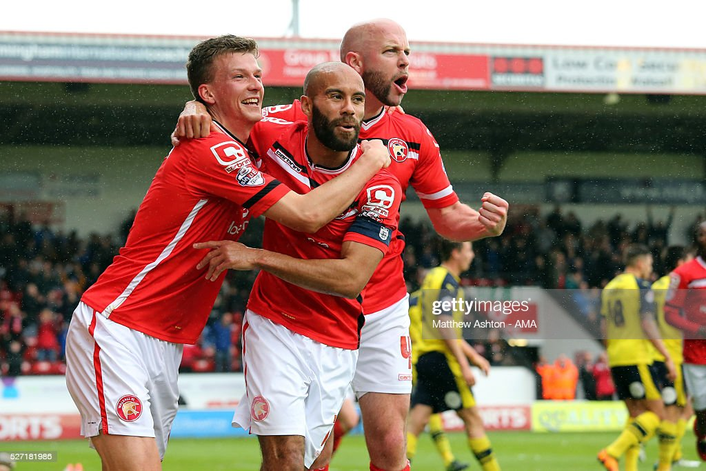Paul Downing of Walsall celebrates after scoring a goal to make it 2-0 during the Sky Bet League One match between Walsall and Fleetwood Town at Bescot Stadium on May 2, 2016 in Walsall, England.