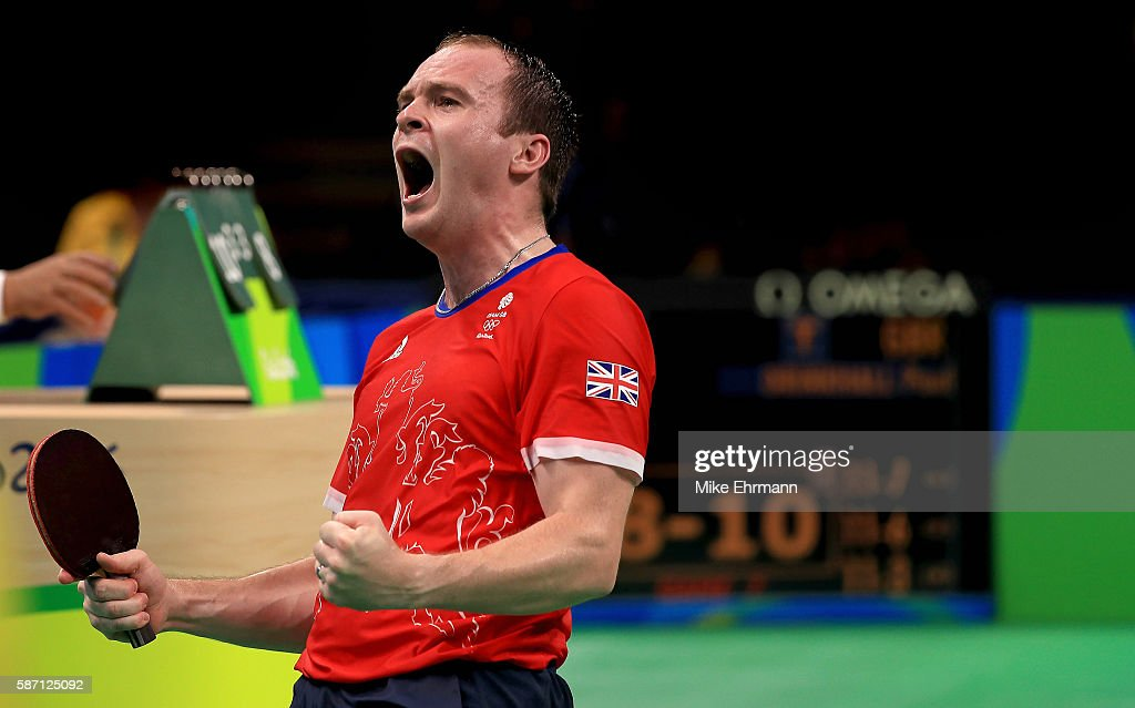 Paul Drinkhall of Great Britain celebrates winning a Men's Singles second round match against Ning Gao of Singapore on Day 2 of the Rio 2016 Olympic Games at Riocentro - Pavilion 3 on August 7, 2016 in Rio de Janeiro, Brazil.