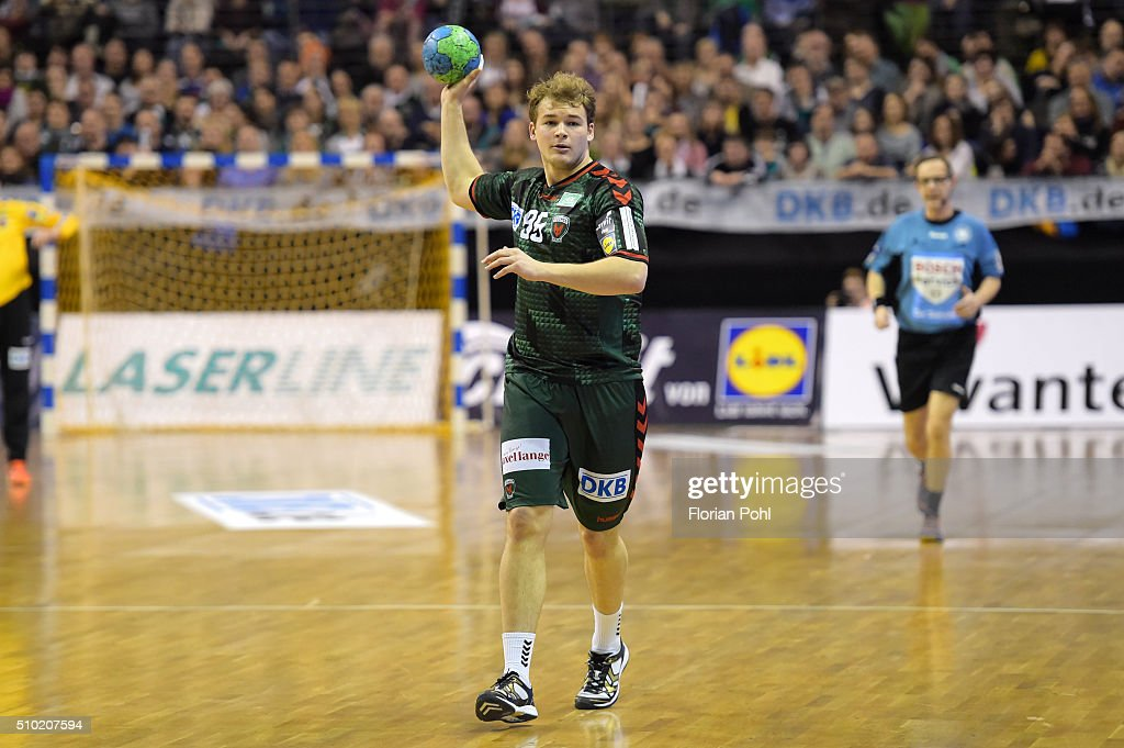 Paul Drux of Fuechse Berlin during the game between Fuechse Berlin and MT Melsungen on February 14, 2016 in Berlin, Germany.