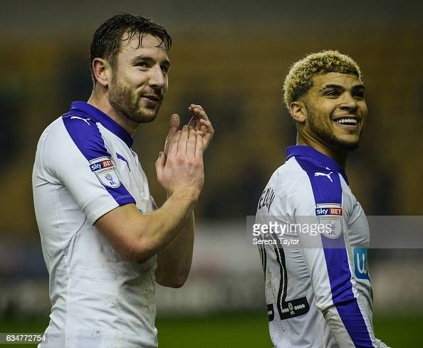 Paul Dummett of Newcastle United claps the fans after Newcastle win the Sky Bet Championship match between Wolverhampton Wanderers and Newcastle...