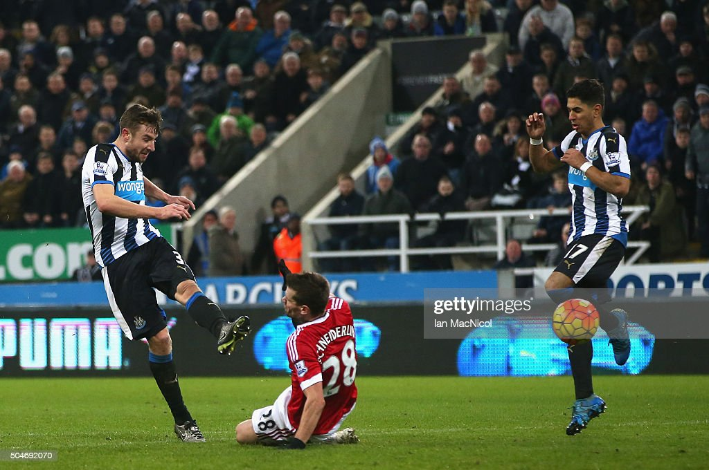 Paul Dummett of Newcastle United (L) scores their third and equalising goal during the Barclays Premier League match between Newcastle United and Manchester United at St James' Park on January 12, 2016 at Newcastle upon Tyne, England.