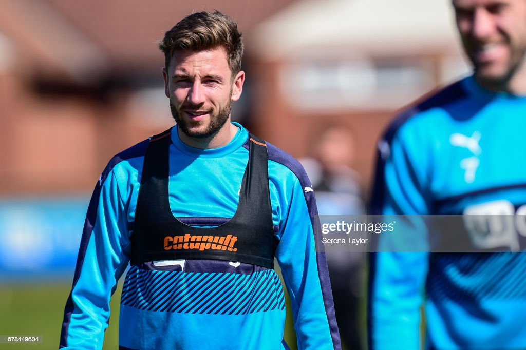 Paul Dummett smiles during the Newcastle United Training Session at The Newcastle United Training Centre on May 4, 2017 in Newcastle upon Tyne, England.