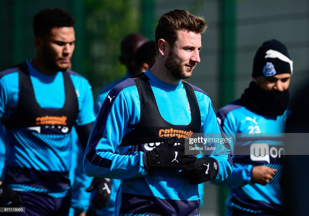 Paul Dummett walks outside with teammates during the Newcastle United Training Session at the Newcastle United Training Ground on April 21, 2017 in Newcastle upon Tyne, England.