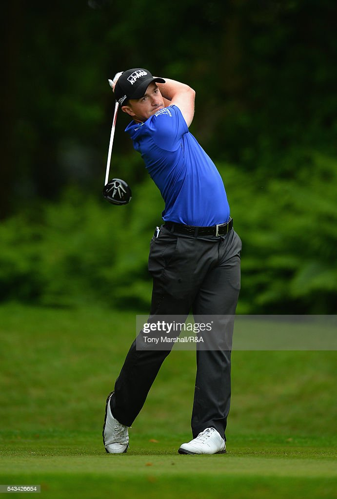 Paul Dunne of Hartl Resort plays his first shot on the 13th tee during the Open Championship Qualifying - Woburn at Woburn Golf Club on June 28, 2016 in Woburn, England.