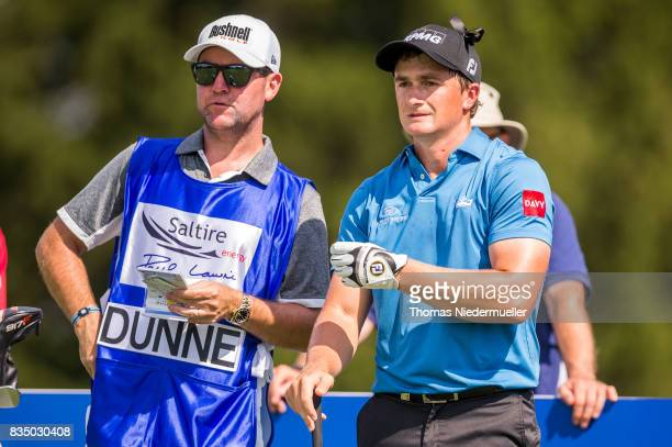 Paul Dunne of Ireland and his caddie are seen during day two of the Saltire Energy Paul Lawrie Matchplay at Golf Resort Bad Griesbach on August 18...