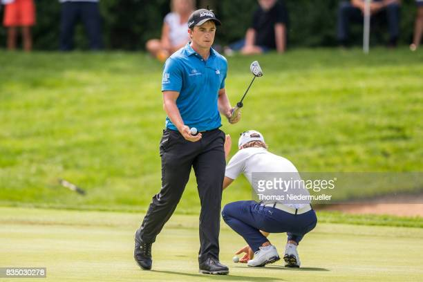 Paul Dunne of Ireland and Jens Fahrbring of Sweden are seen during day two of the Saltire Energy Paul Lawrie Matchplay at Golf Resort Bad Griesbach...