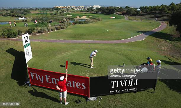 Paul Dunne of Ireland hits his teeshot on the 13th hole during the first round of the Portugal Masters at Oceanico Victoria Golf Club on October 15...