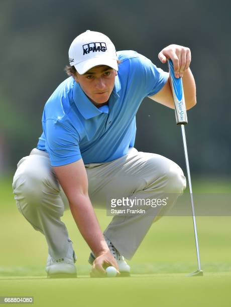 Paul Dunne of Ireland lines up a putt during the third round of the Trophee Hassan II at Royal Golf Dar Es Salam on April 15 2017 in Rabat Morocco