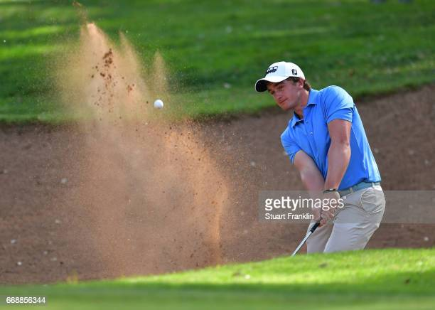 Paul Dunne of Ireland plays a shot during the third round of the Trophee Hassan II at Royal Golf Dar Es Salam on April 15 2017 in Rabat Morocco
