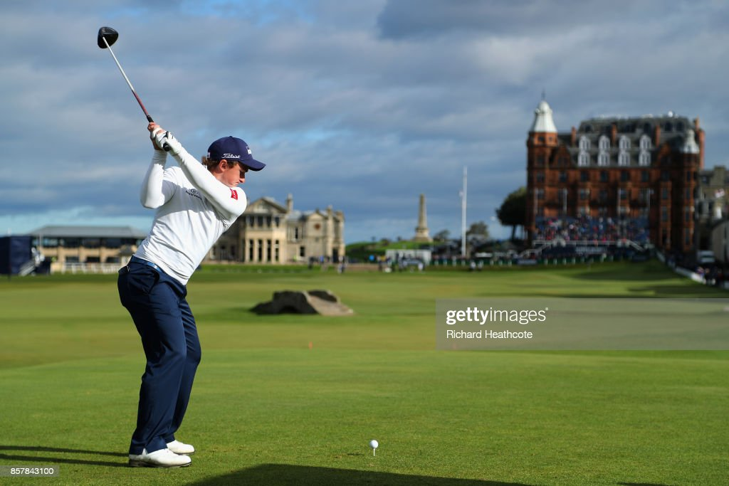 Paul Dunne of Ireland tees off on the 18th during day one of the 2017 Alfred Dunhill Championship at The Old Course on October 5, 2017 in St Andrews, Scotland.