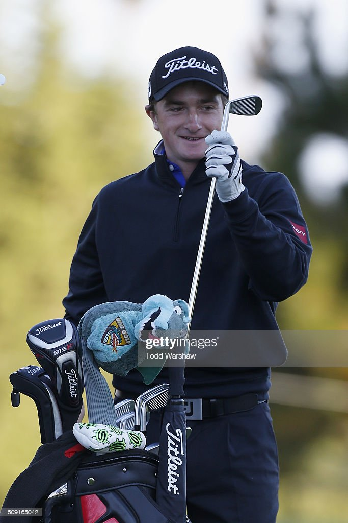 <a gi-track='captionPersonalityLinkClicked' href=/galleries/search?phrase=Paul+Dunne&family=editorial&specificpeople=5481664 ng-click='$event.stopPropagation()'>Paul Dunne</a> of Ireland warms up on the driving range during practice for the AT&T Pebble Beach National Pro-Am at Spyglass Hill Golf Course on February 9, 2016 in Pebble Beach, California.