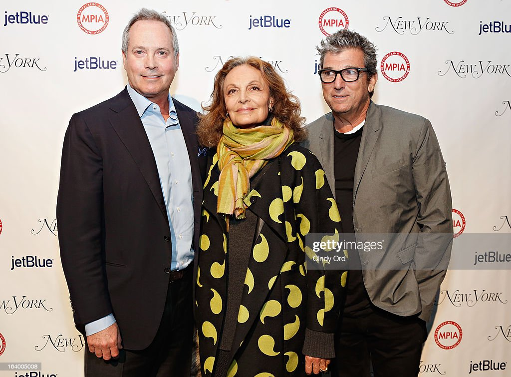 Paul E. Pariser, Diane von Furstenberg and Andrew Rosen attend the Meatpacking District Improvement Association first annual fundraiser OPEN MARKET at Highline Stages on March 18, 2013 in New York City.