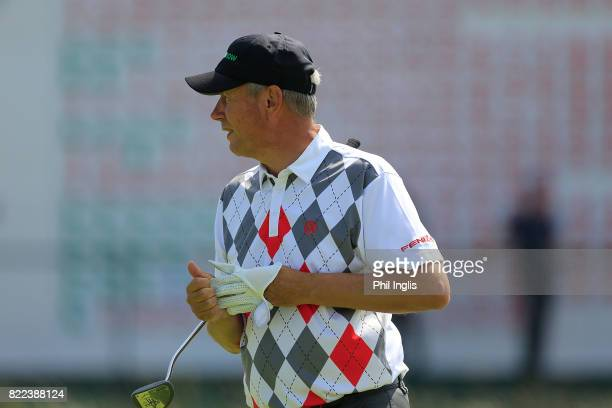 Paul Eales of England in action during the ProAm ahead of The Senior Tour Open Championship played at Royal Porthcawl Golf Club on July 25 2017 in...
