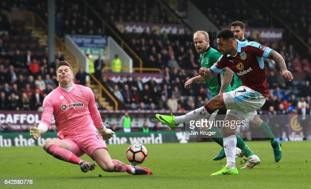 Paul Farman of Lincoln City saves a shot from Andre Gray of Burnley during The Emirates FA Cup Fifth Round match between Burnley and Lincoln City at...