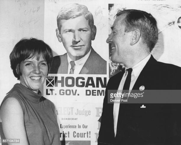 Paul Fay JFK Intimate Stumps In Colorado For Friend Mark Hogan Mrs Nancy Hogan poses beside husband's photo with former administration official...
