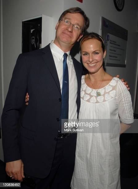 Paul Feig and actress Melora Hardin attends the Paul Feig book reading party held at the California Science Center on September 28 2008 in Los...