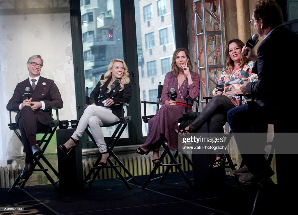 Paul Feig Kate McKinnon Kristen Wiig Melissa McCarthy and Steve Higgins attend AOL Build Speaker Series'Ghostbusters' at AOL HQ on July 12 2016 in...