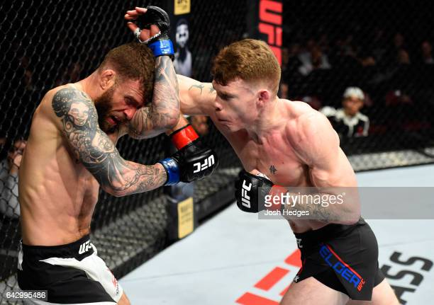Paul Felder lands an elbow to the head of Alessandro Ricci of Canada in their lightweight fight during the UFC Fight Night event inside the...