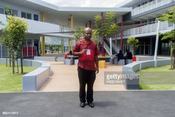 Paul Fizin teacher of history geography and civic education in the French overseas territory of New Caledonia Single no children poses with his...