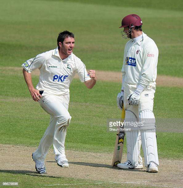 Paul Franks of Nottinghamshire celebrates after taking the wicket of Marcus Trescothick of Somerset on 98 during the LV County Championship match...