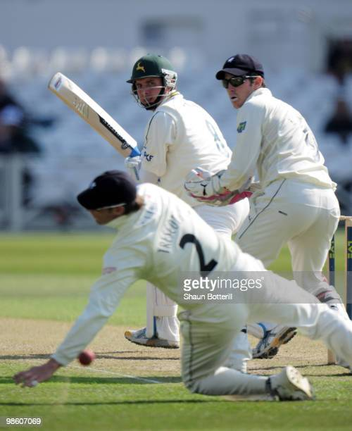 Paul Franks of Nottinghamshire plays a shot past Craig Kieswetter the Somerset wicketkeeper and Marcus Trescothick during the LV County Championship...