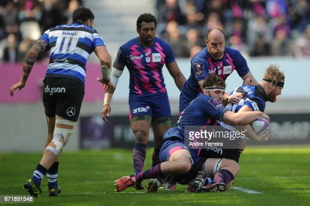Paul Gabrillagues of Stade Francais and Ross Batty of Bath during the European Challenge Cup semi final between Stade Francais and Bath on April 23...