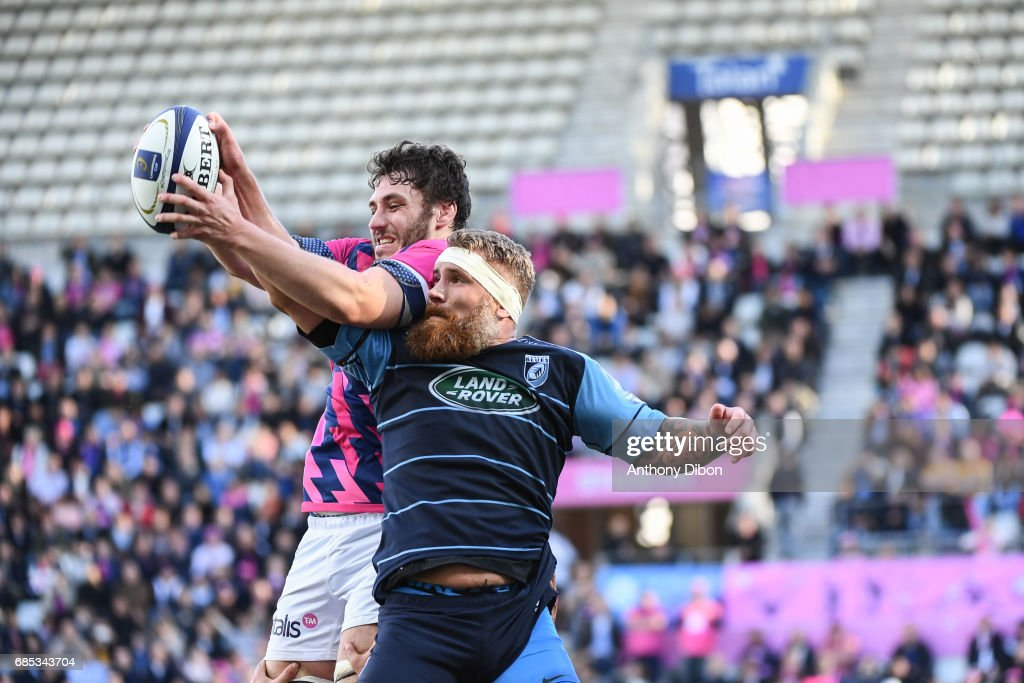 Paul Gabrillagues of Stade Francais during the Champions Cup Play-offs match between Stade Francais Paris and Cardiff Blues at Stade Jean Bouin on May 19, 2017 in Paris, France.