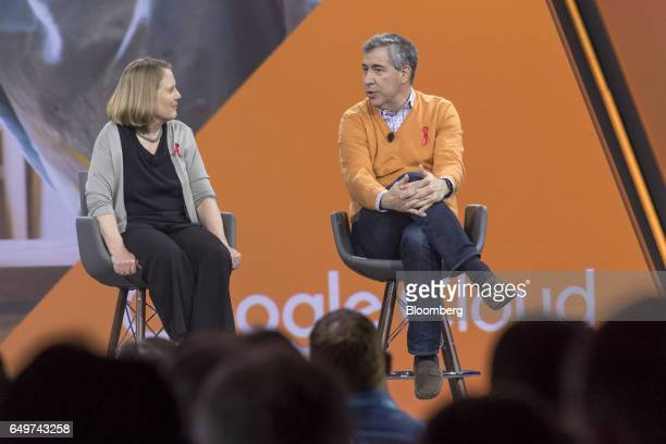 Paul Gaffney senior vice president of information technology at Home Depot Inc right speaks as Diane Greene senior vice president of cloud services...