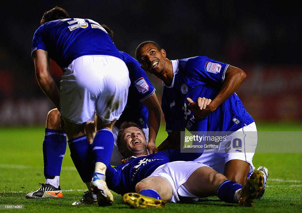 Paul Gallagher of Leicester celebrates the third goal with David Nugent and Jermaine Beckford during the npower Championship match between Leicester City and Crystal Palace at Walkers Stadium on November 20, 2011 in Leicester, England.