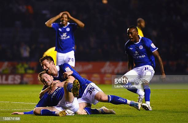 Paul Gallagher of Leicester celebrates the third goal with David Nugent during the npower Championship match between Leicester City and Crystal...