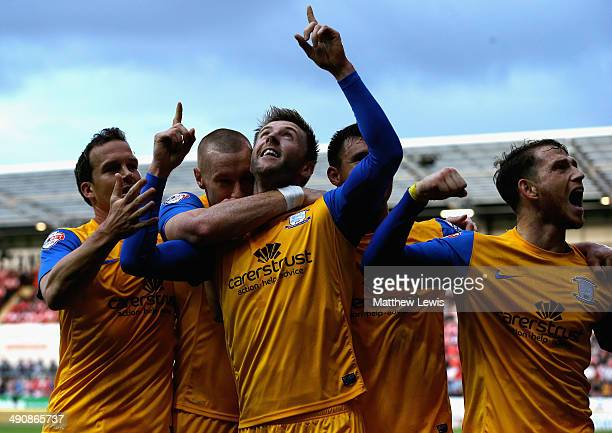 Paul Gallagher of Preston celebrates his goal during the Sky Bet League One Play Off Semi Final Second Leg between at Rotherham United and Preston...