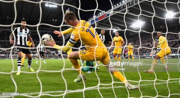 Paul Gallagher of Preston handles the ball on the line and is sent off during the Sky Bet Championship match between Newcastle United and Preston...