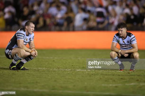 Paul Gallen and Chad Townsend of the Sharks look dejected after defeat during the round three NRL match between the Cronulla Sharks and the St George...