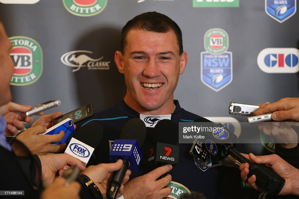 Paul Gallen laughs as he speaks to the media during a New South Wales Blues State of Origin media session at the Sofitel Hotel on June 25, 2013 in Brisbane, Australia.