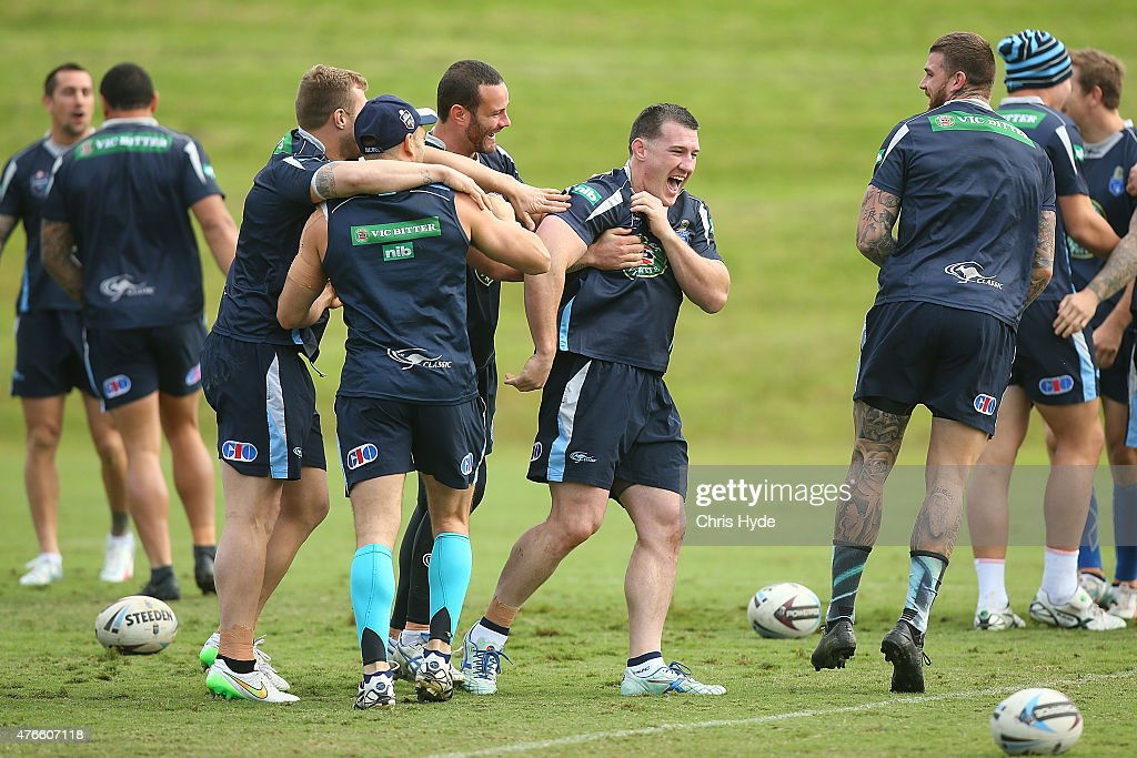 Paul Gallen laughs with team mates during the New South Wales Blues State of Origin team training session at the Novotel on June 11, 2015 in Coffs Harbour, Australia.