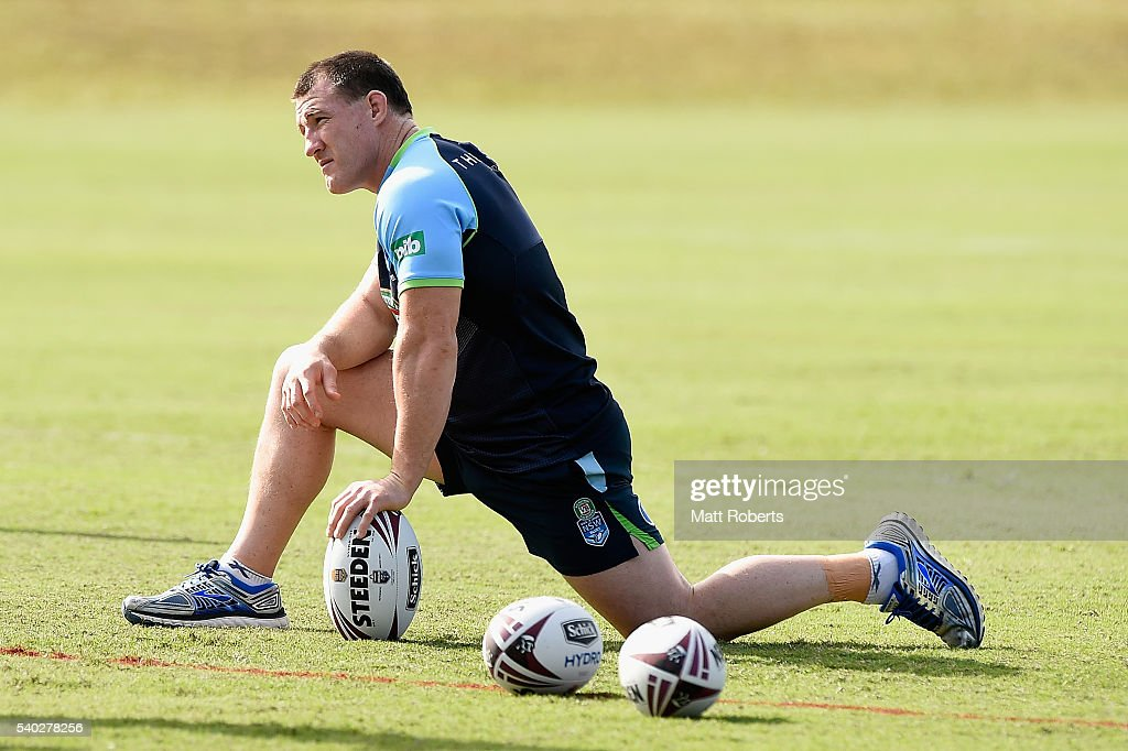 Paul Gallen looks on during a New South Wales Blues State of Origin training session on June 15, 2016 in Coffs Harbour, Australia.