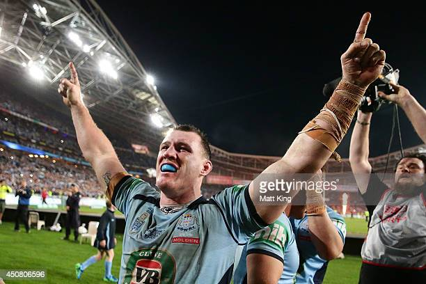 Paul Gallen of the Blues celebrates winning the series after game two of the State of Origin series between the New South Wales Blues and the...