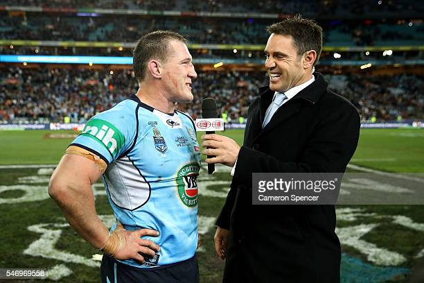 Paul Gallen of the Blues is interviewed by Brad Fittler after game three of the State Of Origin series between the New South Wales Blues and the...