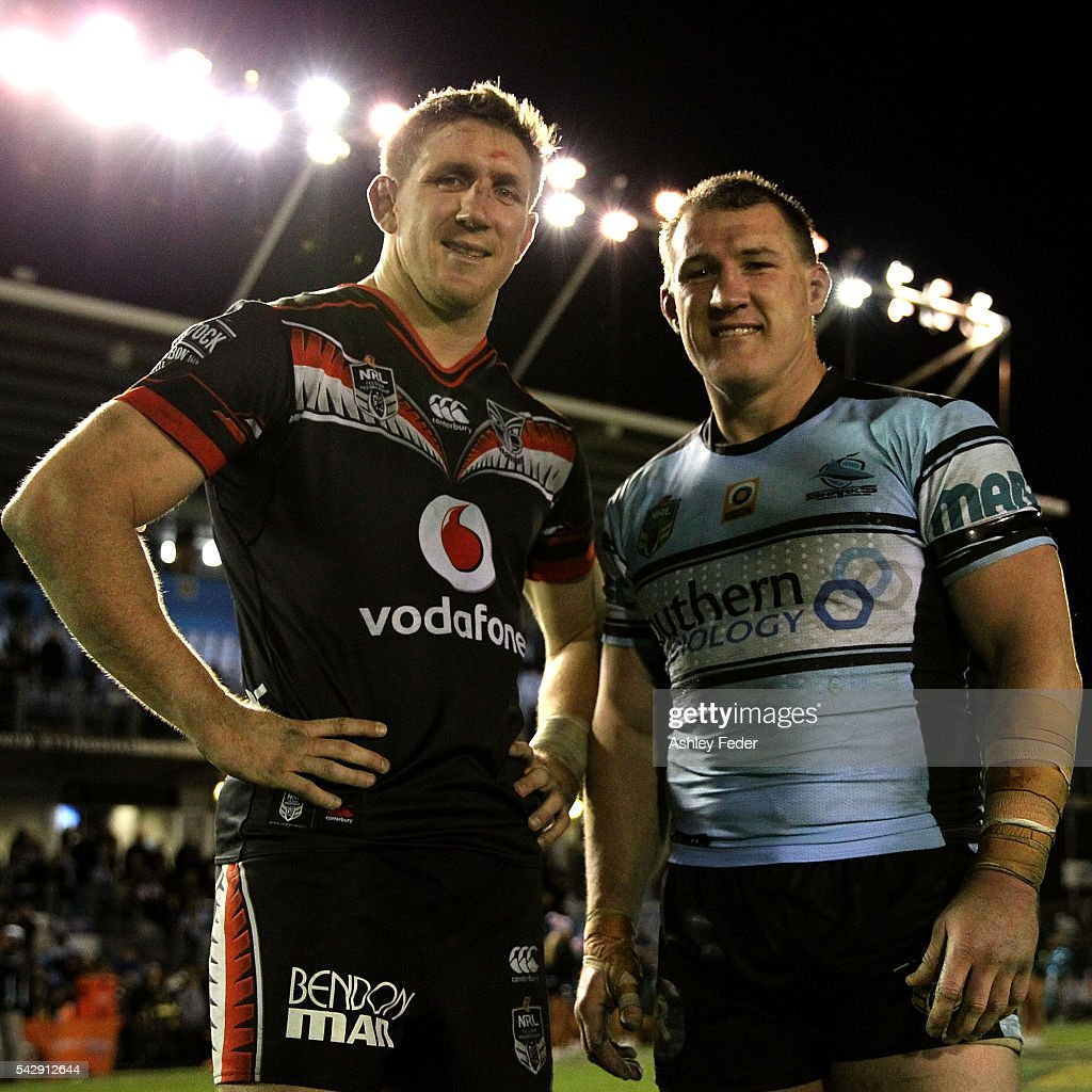 Paul Gallen of the Sharks and Ryan Hoffman of the Warriors pose for a photo during the round 16 NRL match between the Cronulla Sharks and the New Zealand Warriors at Southern Cross Group Stadium on June 25, 2016 in Sydney, Australia.