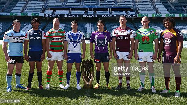 Paul Gallen of the Sharks Johnathan Thurston of the Cowboys Michael Crocker of the Rabbitohs Michael Ennis of the Bulldogs Billy Slater of the Storm...