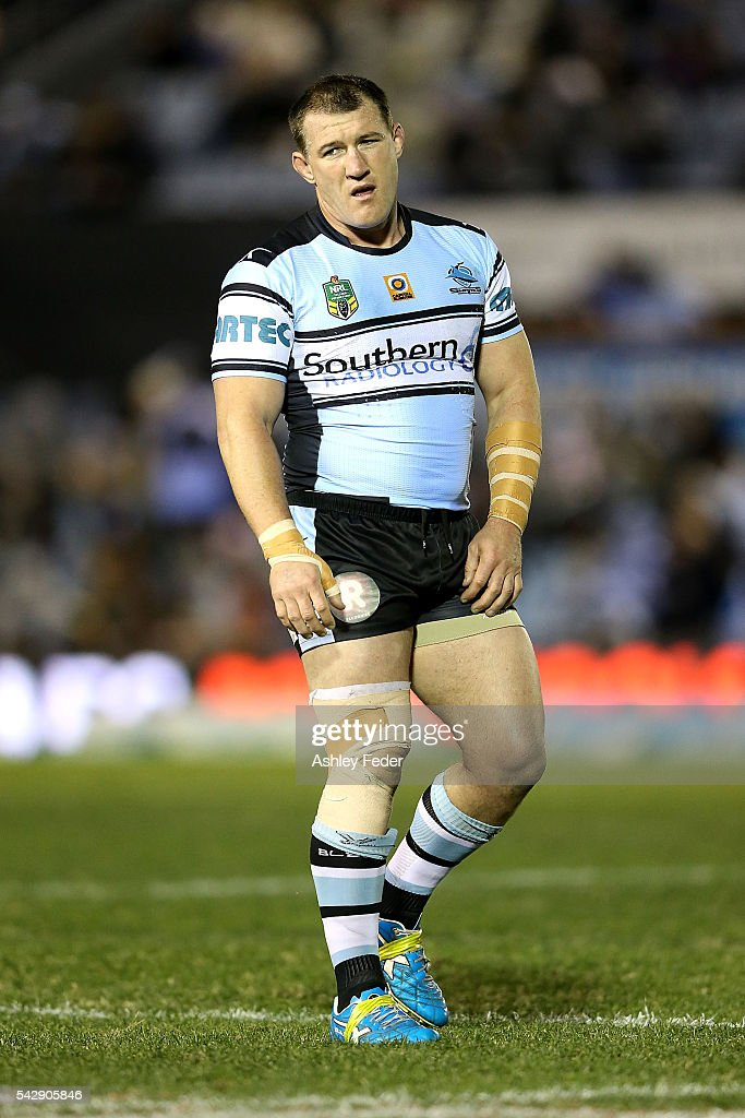 <a gi-track='captionPersonalityLinkClicked' href=/galleries/search?phrase=Paul+Gallen&family=editorial&specificpeople=240584 ng-click='$event.stopPropagation()'>Paul Gallen</a> of the Sharks looks on during the round 16 NRL match between the Cronulla Sharks and the New Zealand Warriors at Southern Cross Group Stadium on June 25, 2016 in Sydney, Australia.