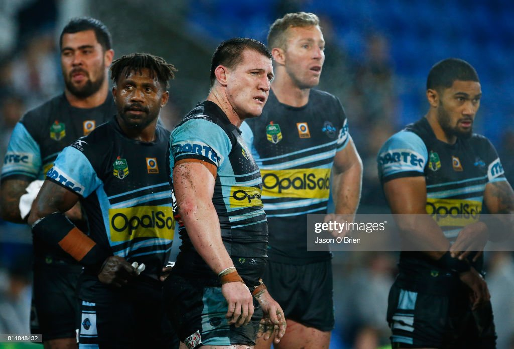 Paul Gallen of the Sharks looks on during the round 19 NRL match between the Gold Coast Titans and the Cronulla Sharks at Cbus Super Stadium on July 15, 2017 in Gold Coast, Australia.