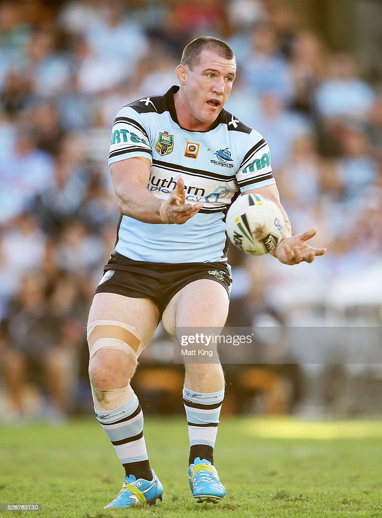 Paul Gallen of the Sharks passes during the round nine NRL match between the Cronulla Sharks and the Brisbane Broncos at Southern Cross Group Stadium on May 1, 2016 in Sydney, Australia.