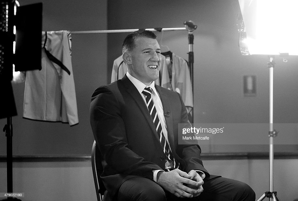 Paul Gallen speaks to media during the New South Wales Blues State of Origin team announcement at Revesby Workers Club on June 30, 2015 in Sydney, Australia.
