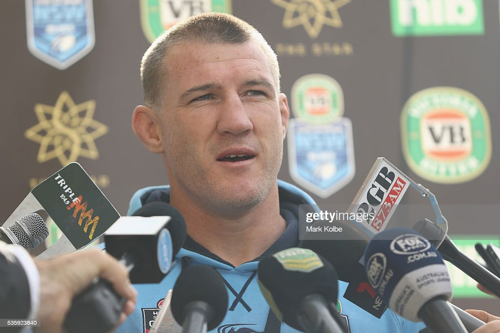 Paul Gallen speaks to the media before the New South Wales State of Origin captain's run at ANZ Stadium on May 31, 2016 in Sydney, Australia.