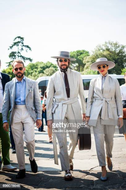 Paul Garcia De Oteyza and Caterina Paneda are seen during Pitti Immagine Uomo 92 at Fortezza Da Basso on June 14 2017 in Florence Italy