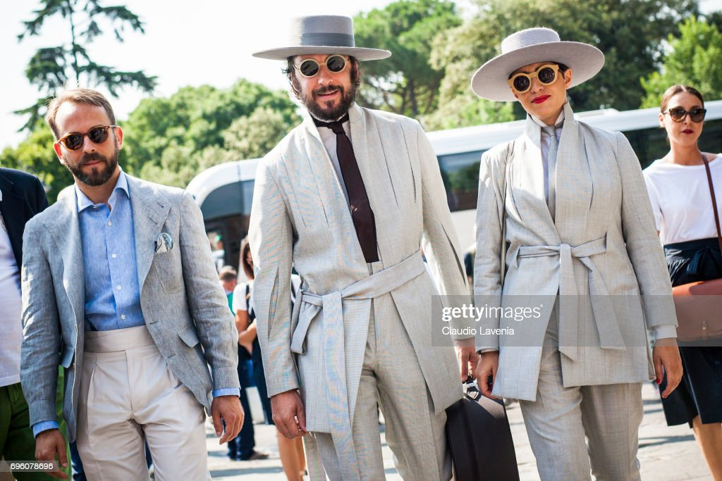 Paul Garcia De Oteyza and Caterina Paneda are seen during Pitti Immagine Uomo 92. at Fortezza Da Basso on June 14, 2017 in Florence, Italy.